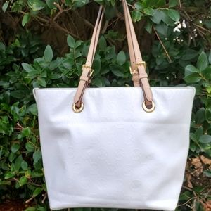 Michael Kors White Signature Leather Shoulder Bag